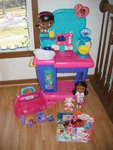 Doc McStuffins Pet Vet Checkup Center + talking doll + books in Algonquin, Illinois
