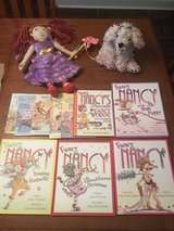 Ten Fancy Nancy books, Fancy Nancy doll backpack and stuffed dog Frenchie in Byron, Georgia