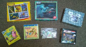 lot of children's puzzles ages 3-10 boy-themed Rescue Heroes Monsters Inc Spongebob in Joliet, Illinois