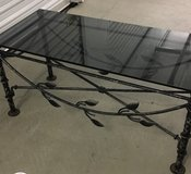 Metal table with glass top in San Diego, California