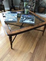 Burl Wood & Glass Coffee Table in Tinley Park, Illinois