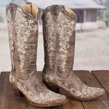 Boots - Corral Ladies Brown Crater Bone Embroidery Western Boot in Spring, Texas