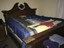 Solid wood and marble king size bed set in Beaufort, South Carolina