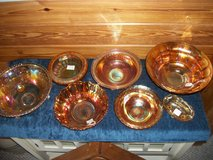 Carnival glass bowls in Perry, Georgia