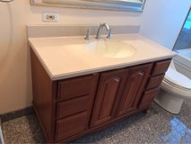 Cherrywood Vanity including sink, countertop, and Kohler faucet in Palatine, Illinois