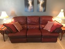 burgundy leather recliner couch in Warner Robins, Georgia
