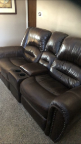 Leather sectional in Peoria, Illinois