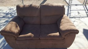 Brown micro suede love seat in 29 Palms, California