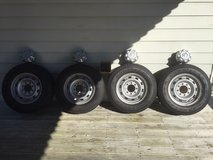 Four Goodyear Wrangler SR-A LT 245/70 R17 Tires With Rims in Camp Lejeune, North Carolina