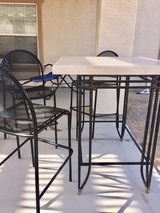Tall  bar height patio table solid marble 3 chairs in 29 Palms, California
