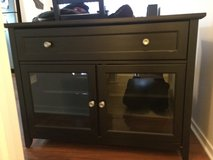Black TV Stand with Glass Doors and Storage Drawer in Palatine, Illinois