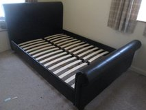 BROWN FAUX LEATHER UK DOUBLE SLEIGH BED BASE in Lakenheath, UK