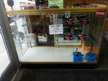 GLASS RETAIL DISPLAY CASE WITH PEG BOARD ON 1 SIDE in Camp Lejeune, North Carolina