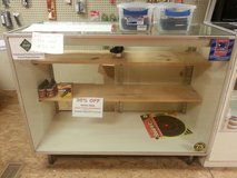 GLASS RETAIL DISPLAY CASE WITH 2 WOOD SHELVES in Camp Lejeune, North Carolina
