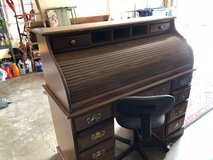 Solid Wood Roll Top Desk With Office Chair in DeRidder, Louisiana