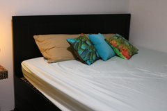 Large Queen Bed with Mattresses and Drawers in Grafenwoehr, GE