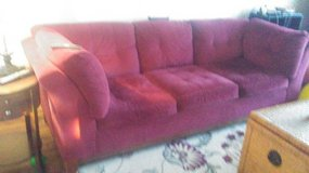 Red couch in Yorkville, Illinois