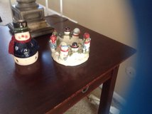 Two snowman candleholders in Bartlett, Illinois