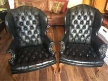 2 gorgeous black faux leather tufted studded accent chairs in San Clemente, California