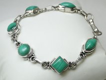 Sterling Silver & Malachite Gemstone Bracelet in Pasadena, Texas