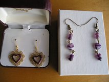 VINTAGE PURPLE or VIOLET HEART EARRINGS in Yorkville, Illinois