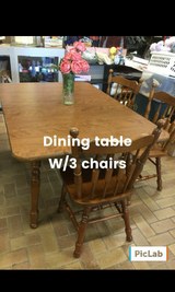 Wood Dining Table w/3chairs in Fort Hood, Texas