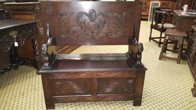 Carved Oak Monks Bench with Lion Arm Rests Folding Top,Underseat Storage Others Available Free D... in Lakenheath, UK