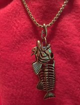 Silver Colored Fish Skeleton Necklace in Leesville, Louisiana