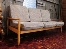 Mid Century Danish Design Solid Wood Couch With New Cushions in Ramstein, Germany