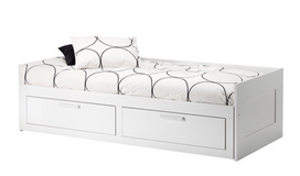 Single twin white bed with mattress in Warner Robins, Georgia