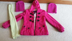 Girls Pink Coat, 2 Caps and 1 Scarf in Westmont, Illinois