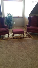 Pennsylvania House 2 Wing back Chairs, Footstool & Rug in Lawton, Oklahoma
