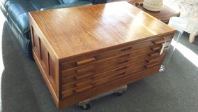 Oak coffee table 5 map drawers in Bartlett, Illinois