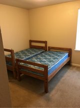 Solid wood, very sturdy bunk beds with mattresses in Fort Polk, Louisiana
