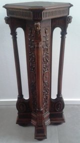 Rare antique German walnut pillar - circa 1890 in Ramstein, Germany