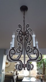 Beautiful iron and crystal chandelier in St. Charles, Illinois