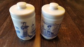 2 vintage heavy milk glass containers with lids in Bolingbrook, Illinois