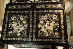 Korean Black Lacquer China Cabinet  inlaid Mother of Pearl in Warner Robins, Georgia