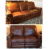 Walter E Smithe Leather Couch and Love Seat Set in Lockport, Illinois