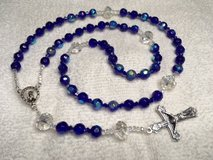 Rosary Bride Quinceanera Czech Crystal Cobalt Blue AB Finish Italian Silver Medal and Crucifix in Kingwood, Texas