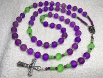 Rosary Purple Green Glass Mardi Gras Long New Beads Italian Silver Middle Medal and Crucifix Custom in Kingwood, Texas
