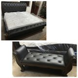 Brown Leather/Pecan Finish Tufted King Sleigh Bed + Bench + Mattress & Boxspring -Monticello by ... in Naperville, Illinois