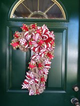 Burlap Candy Cane Wreath in Naperville, Illinois