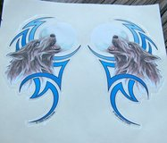 Howling Wolf Decals, Mirror Image Pair in Alamogordo, New Mexico