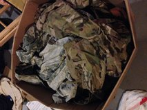Box of used uniforms in Fort Campbell, Kentucky