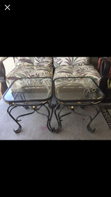 2 side metal with glass top tables in Fort Irwin, California