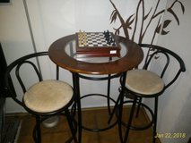 3-Piece Black/Brown Metal Height Bar Table Set with 2 Stools in Ramstein, Germany