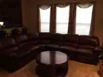 BROWN LEATHER RECLINING SECTIONAL in Chicago, Illinois