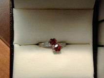 Real Garnet Hearts Sterling Silver Ring in Chicago, Illinois