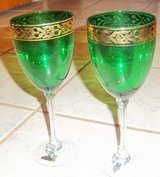 "Two green and gold cocktail glasses 9"" tall in Alamogordo, New Mexico"
